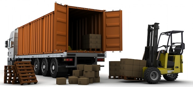 3d render of a freight container and a forklift