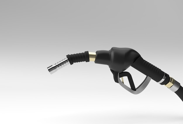 3d render fuel pump nozzle isolated on color background.