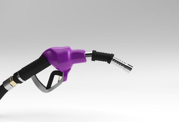 3d 렌더링 연료 펌프 노즐 색상 배경에 고립.