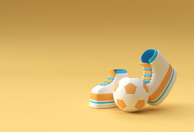 3dレンダリング、サッカーの背景デザインの面白い漫画のキャラクターの脚。