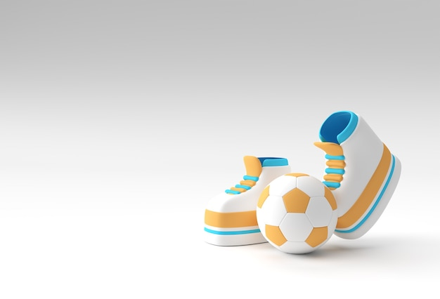3d render funny cartoon character legs with football background design.