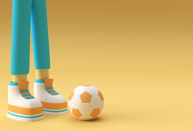 3d render, funny cartoon character sportsman, legs with football background design.