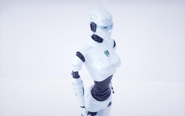 3d визуализация будущего робота с искусственным интеллектом и киборга