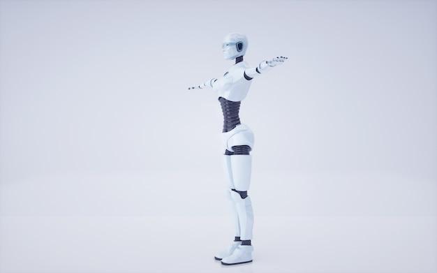 3dレンダリング未来の人工知能ロボットとサイボーグ