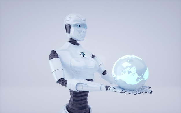 3d render future artificial intelligence robot and cyborg