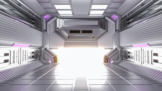 3d 렌더링 미래 건축 공상 과학 복도