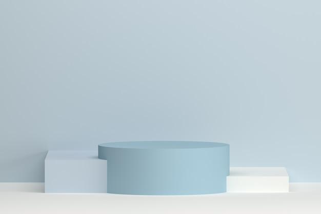 3dレンダリング幾何学的な表彰台を柔らかな色でグレーグレーブルーとホワイトの製品
