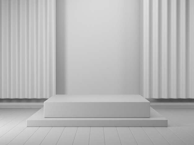 3d render geometric podium white 3d podium showcase for product