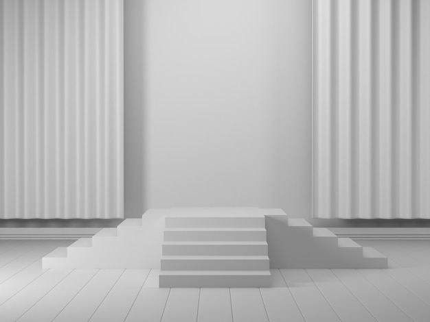 3d render geometric podium white 3d podium showcase for product