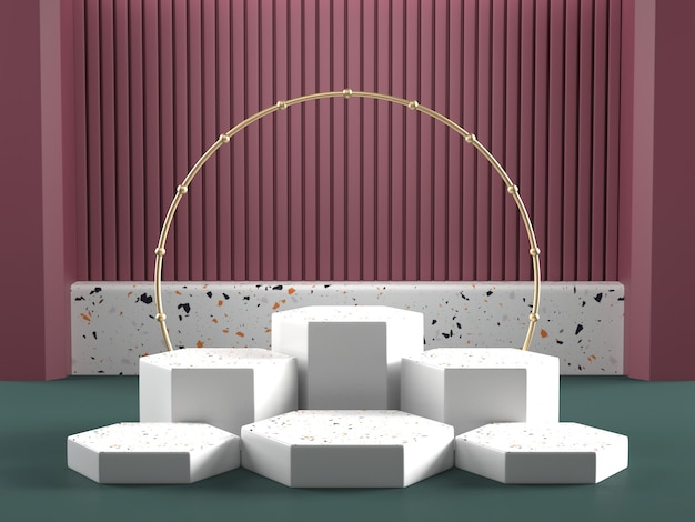 3d render of geometric podiums with golden arc and colorful wall