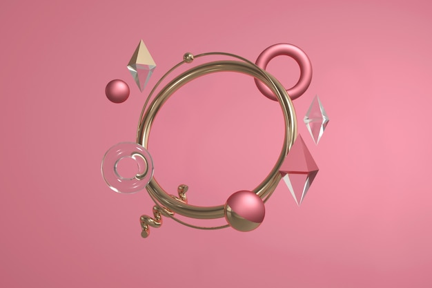 3d render of geometric shapes. modern abstract composition witn circles, balls, rhombus, spiral.