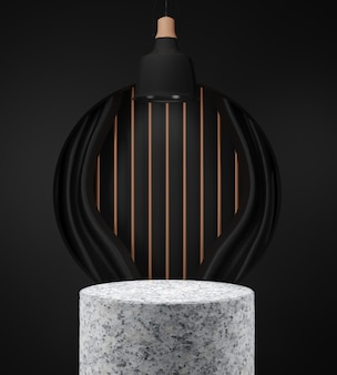 3d render geometrical abstract background scenes with granite podium scenes in black background