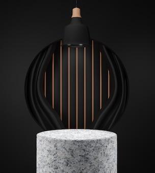 3d 렌더링 검은 배경에 화강암 연단 장면 기하학적 추상 배경 장면