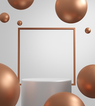 3d визуализации геометрический абстрактный фон сцены с белыми сценами подиума в фоновом режиме.