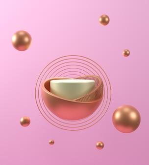 3d 렌더링 기하학적 추상 파스텔 배경 금색과 흰색 연단, 분홍색 배경, 럭셔리 미니 멀 모형 장면.