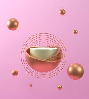 3d render geometrical abstract pastel background scenes with gold and white podium, pink background, luxury minimalist mockup.
