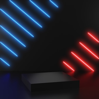 3d визуализация геометрическая, светящиеся линии, туннель, красные и синие неоновые огни, виртуальная реальность, абстрактный фон с белыми сценами подиума на черном фоне.