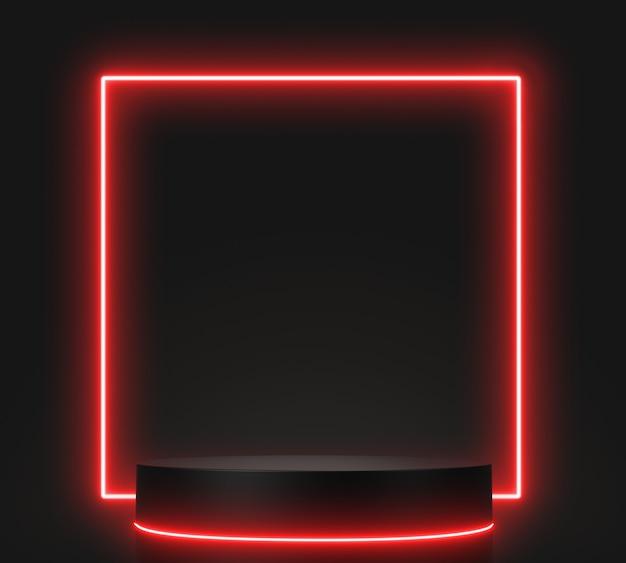 3d визуализация геометрические, светящиеся линии, туннель, красные неоновые огни, абстрактный фон, с черным подиумом.