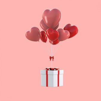 3d render of gift box floating with heart shaped balloons, valentine concept