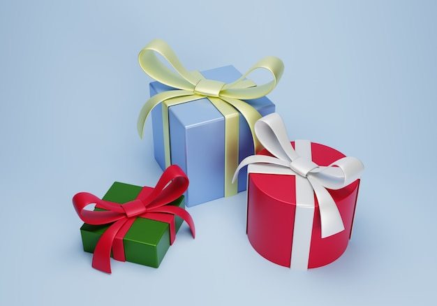 3d render gift box for merry christmas