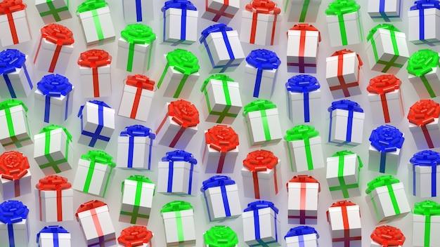 3d 렌더링 선물 상자 패턴 파란색 빨간색과 녹색 색상