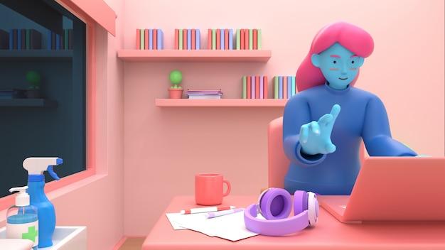 3d представляют девушку при компьтер-книжка сидя на стуле используя компьтер-книжку для онлайн работы или учить образование пока карантин от coronavirus covid-19.freelance или изучать концепцию. симпатичные 3d иллюстрации стиль