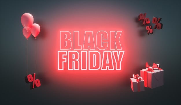 3d визуализация. светящийся баннер черной пятницы с красными неоновыми буквами. современный дизайн для рекламы.