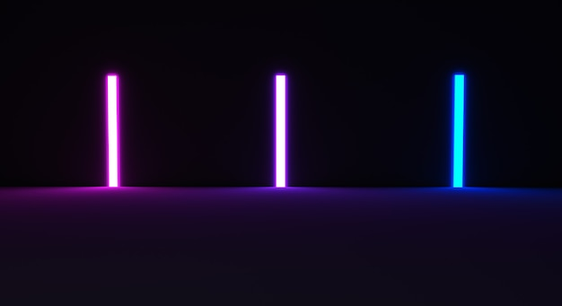 3dレンダリング光る線トンネルネオンライトバーチャルリアリティ抽象的な背景
