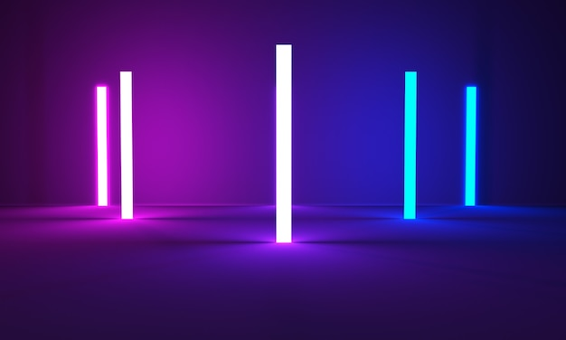 3dレンダリング光る線トンネルネオンライトバーチャルリアリティ抽象