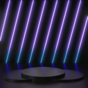 3d render glowing lines, tunnel, neon purple and blue lights, virtual reality, abstract background, square portal with black podium scenes in black background.