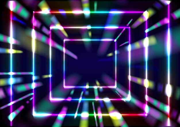 3d 렌더링 빛나는 네온 무지개 색상 추상 속도 터널 배경