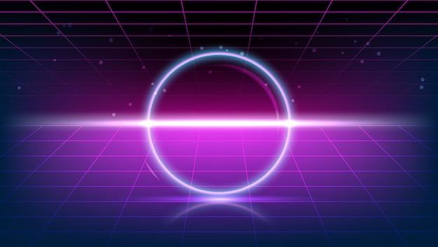 80 년대 보라색 빈티지 배경에 빛나는 네온 반지 3d 렌더링
