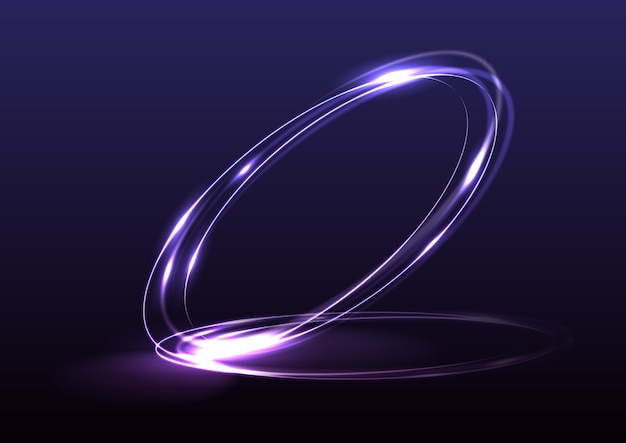 3d render glowing purple elegant ring shape isolated on dark purple background