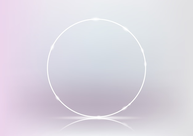 3d render glowing white neon ring on light pink and white background