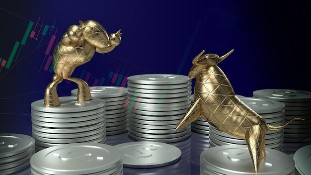 3d визуализация золотого быка и медведя на серебряных монетах и темно-синем фоне