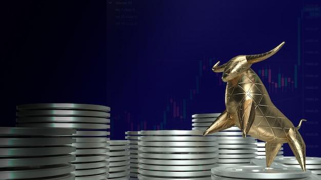 3d визуализация золотого быка на серебряных монетах и темно-синем фоне