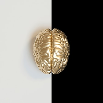 3d render of a gold-colored human brain