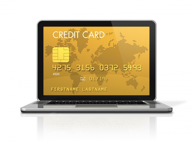 3d render of a gold credit card on a laptop screen