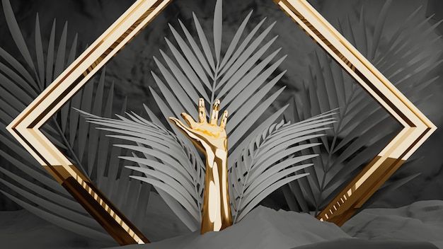 3d визуализация, золотые женские руки с рамкой и пальмовых листьев на черном фоне.