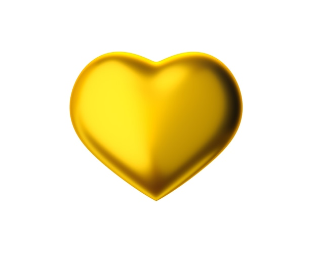 3d render gold heart shape isolated on white background