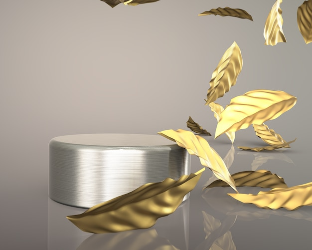3d render gold leaves luxury fashion podium