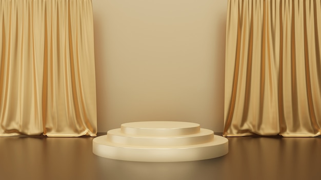 3d render of gold podium pedestal steps with curtain on gold background, golden circle stage, abstract minimal concept, simple clean design, luxury minimalist mockup