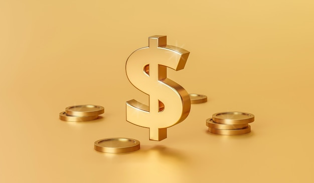 3d render gold sign and coins on gold background