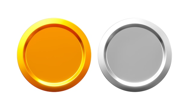 3d render gold and silver coins isolated on white background