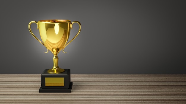 3d render.  gold trophy on top of old wooden table in front of blackboard.