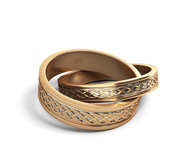 3d визуализация золотые обручальные кольца с гравировкой на белом