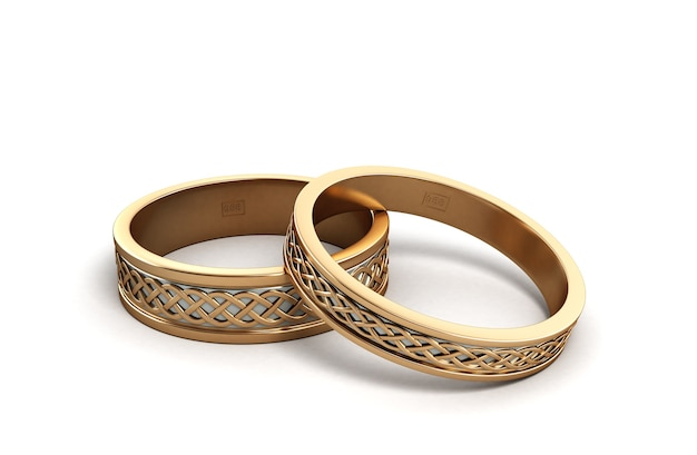 3d render gold wedding rings engraved isolated on white