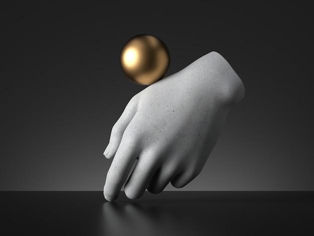 3dレンダリング、マネキンの手でバランスをとる金色のボール。