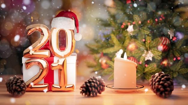 3dレンダリング。黄金の風船2021、木製のブロックカレンダーの美しいクリスマスの壁の日付。