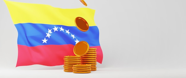 3d render of golden coins and venezuela flag. business online and e-commerce on web shopping concept. secure online payment transaction with smartphone.